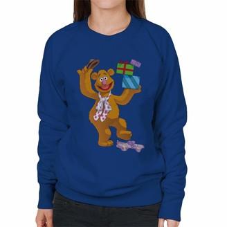 Disney Christmas Muppets Fozzie Bear Holding Boxes Women's Sweatshirt Royal Blue