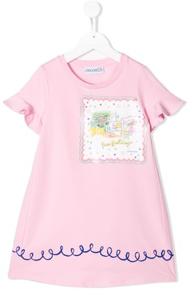 Simonetta Picture Print Flared Dress