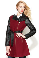 GUESS GUESS? Asymmetrical Mixed-Media Faux-Leather Belted Coat