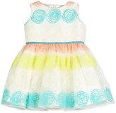 Helena Sleeveless Rosette Tulle Dress, White, Size 12M-3