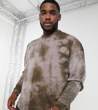 ASOS DESIGN Plus oversized long sleeve t-shirt in brown tie dye