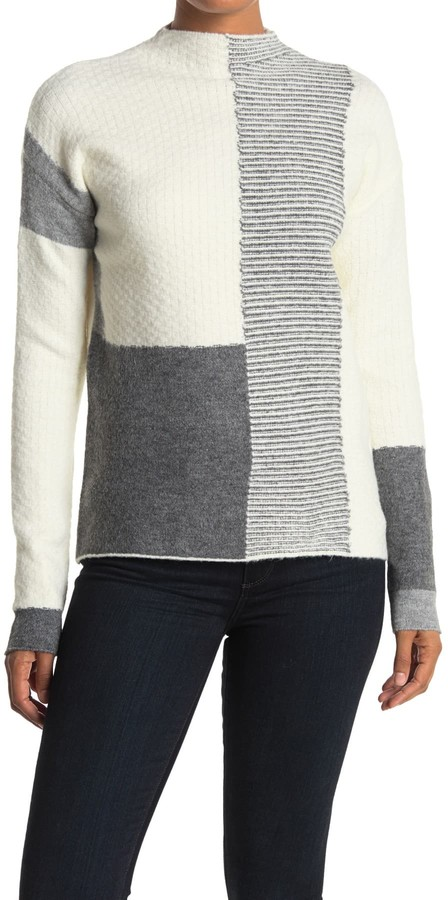 Cyrus Patchwork Print Mock Neck Sweater