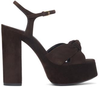 Saint Laurent Brown Suede Bianca 85 Heeled Sandals