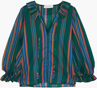 Zimmermann Allia Ruffle-trimmed Striped Cotton-voile Blouse
