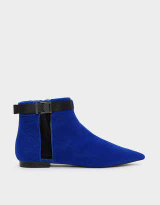Charles & Keith Latch Lift Buckle Pointed Boots