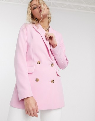 Topshop double breasted jacket in blush pink