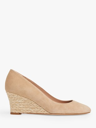LK Bennett Eevi Leather Wedge Heel Court Shoes, Beige