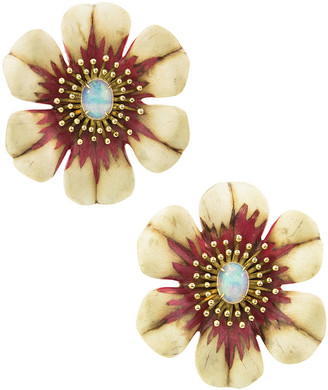 Silvia Furmanovich 18k Sculptural Botanical Marquetry Flower Earrings