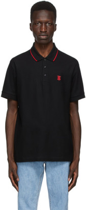 Burberry Black Walton Icon Stripe Placket Polo