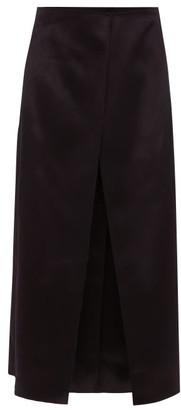 The Row Okif Bonded Hammered-satin Ruffled Midi Skirt - Black Blue