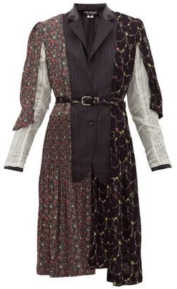 Junya Watanabe Pinstripe And Floral Single-breasted Jacket - Grey Multi