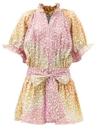 Juliet Dunn Snow-leopard Tie-dye Belted Cotton Mini Dress - Pink Print