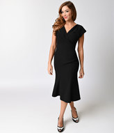 Stop Staring Exclusive 1940s Black Irenne Fitted A-line Dress