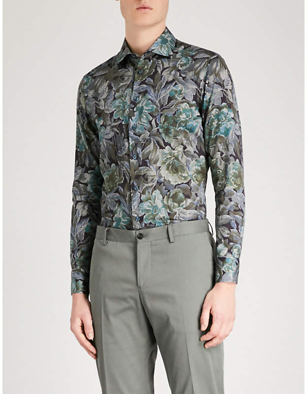 Etro Floral-print tailored-fit cotton-poplin shirt
