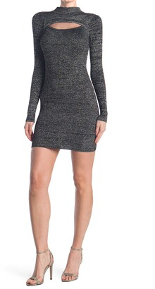 Planet Gold Ribbed Metallic Marled Peekaboo Cutout Dress