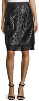 J. Mendel Lace-Overlay Pencil Skirt, Vin