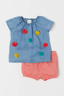 H&M Top and Shorts - Blue