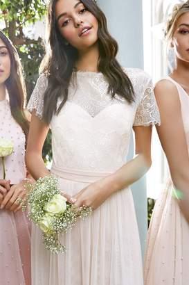 Nude Lace Overlay Maxi Dress