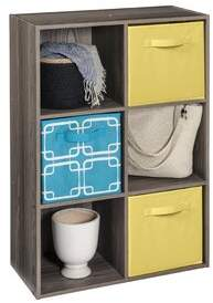 ClosetMaid Cubeicals 6 Cube Bookcase with 3 Fabric Bins Color: Natural Gray/Yellow/Blue