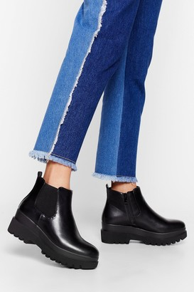 Nasty Gal Womens Cleated Nights Faux Leather Chelsea Boots - Black