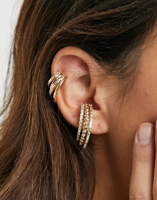 ASOS DESIGN pack of 2 sliding ear cuffs in crystal hoop design in gold tone