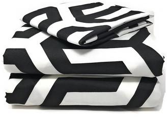 Tache Home Fashion Pattern Flat Sheets, Black and White, California King