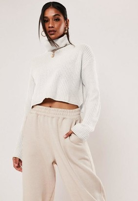 Missguided White Turtle Neck Cropped Knit Sweater