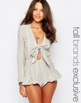 Glamorous Tall Striped Tie Front Romper