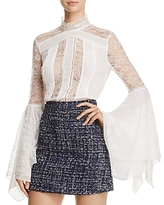 Alice + Olivia Ivy Lace Bell-Sleeve Blouse
