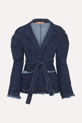 Maggie Marilyn + Net Sustain George Iii Knotted Frayed Denim Jacket - Mid denim