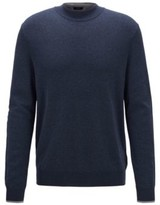 HUGO BOSS - Mock Neck Sweater In Mouline Cotton With Contrast Details - Open Blue