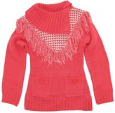 Dollhouse Little Girls Cardigan Sweater with Front Fringes and Pockets, Off White