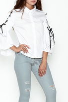 Do & Be Do-Be White Sleeve Tie Up Top
