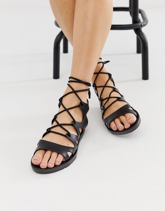 Asos DESIGN Felicity jelly tie leg flat sandals
