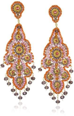 Miguel Ases Synthetic Amethyst Quartz Chandelier Earrings