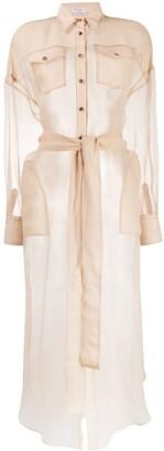 Brunello Cucinelli Button Down Sheer Silk Shirt