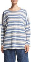 eskandar Long-Sleeve Striped Cashmere Top, Mix