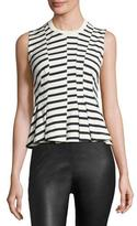 Alexander Wang Sleeveless Striped Peplum Top, Ink/Ivory