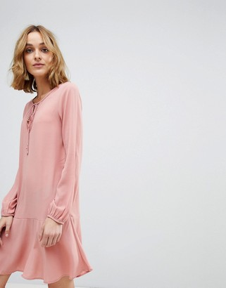 Vero Moda mini swing dress with lace up detail in pink