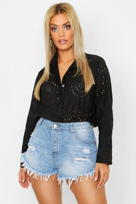 boohoo Plus Broderie Oversized Shirt