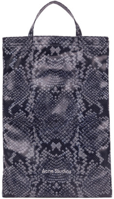 Acne Studios Navy and White Python Print Tote