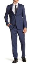 Simon Spurr Blue Mini Check Two Button Notch Lapel Suit