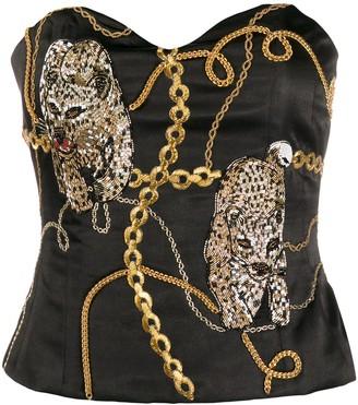 Giuseppe di Morabito Chain Print Bead-Embellished Bustier
