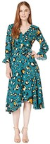 Tahari ASL Printed Georgette Leopard Pattern Midi Dress (Emerald Leopard) Women's Clothing