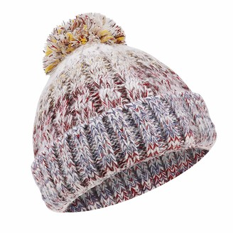 TAGVO Corkscrew Chunky Cable Knitted Hat Unisex Pom-Pom Bobble Hat Winter Beanie Warm Hat Fully Fleece Lined