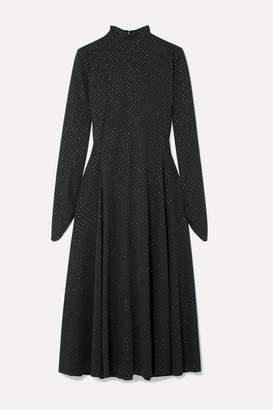 Marc Jacobs Runway Glittered Polka-dot Stretch-jersey Midi Dress - Black