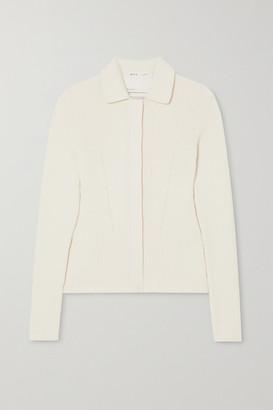 BITE Studios Net Sustain Ribbed Organic Cotton And Silk-blend Cardigan - White