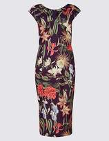 Marks and Spencer Floral Print Asymmetric Bodycon Midi Dress