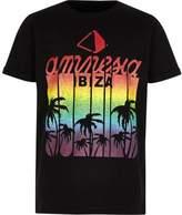 River Island Boys black 'Amnesia Ibiza' print T-shirt