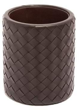 Bottega Veneta Intrecciato Leather Pen Holder - Dark Brown